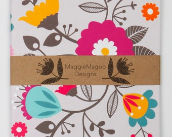 Retro floral notebook A5 by MaggieMagoo Designs. Designed & printed in the UK.