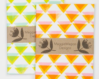 Geometric pattern A6 notebooks by MaggieMagoo Designs. Designed & printed in the UK.