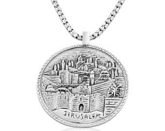 Sterling Silver Jerusalem Judaica Pendant