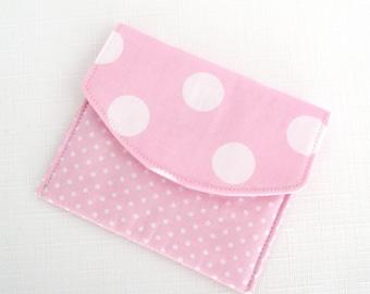 Girls Coin Purse / Card Wallet - Pink Spots