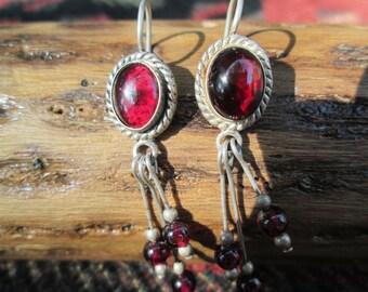 Garnet and Sterling Dangle Earrings