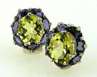 Natural Lemon Citrine & Iolite Earrings 925 SS Sterling Silver