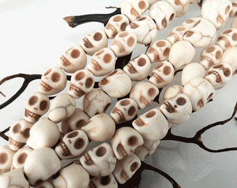 Full Strand Approx 32pcs 13x10mm Howlite Day Of The Dead Ivory Sugar Skull Beads