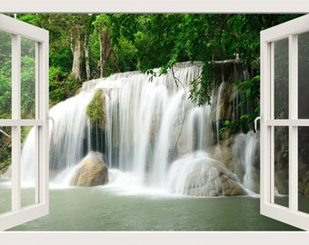 3D window wall decal window to waterfall in the forest, wall stickers for living room,wall mural decal, 3d decal,3d wall decals, vinyl decal