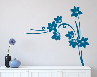 Wall decal WILD FLOWERS, vinyl decal wall sticker, creative vinyl stickers for living room, bedroom,cool home decor,elegant wall decor