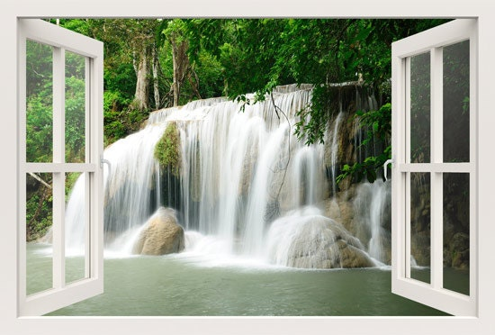3d window wall decal window to waterfall in the forest wall. Black Bedroom Furniture Sets. Home Design Ideas