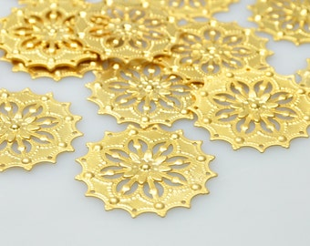 2 Pcs 22k Gold Plated Brass Jewelry Connectors, Matte Gold Fretwork Jewelry Connector, Jewelry Findings