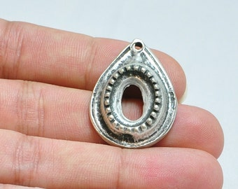 Silver Plated Cabochon Pendant Base, Rustic Silver Pendant, Turkish Jewelry Findings, Jewelry Making Supplies