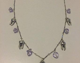 Lilac teeth necklace