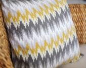 Ikat Grey & Gold Pillow Cover - 18X18