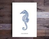 Personalized Seahorse Art in Blue- Beach Decor Nautical Decor Ocean Wall Decor Beach Art Nautical Print Beach Print Wall Art