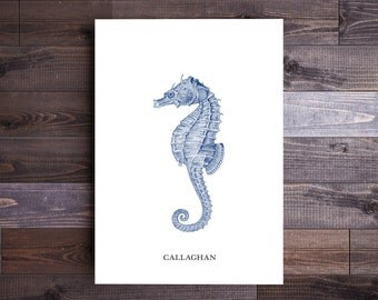 Personalized Seahorse Art in Blue- Beach Decor Nautical Decor Ocean Wall Decor Beach Art Nautical Print Beach Print Wall Art
