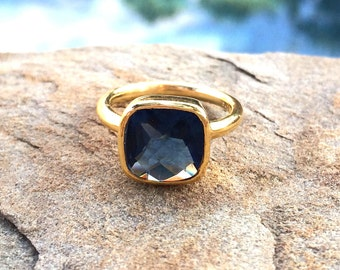 Sapphire Ring, 25% off, Sapphire Birthstone Ring, Dark Blue Square Gold Ring, Stackable Cushion Cut Ring