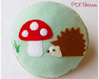 Hedgehog and Toadstool Pincushion PDF Pattern and Tutorial, Instant Download