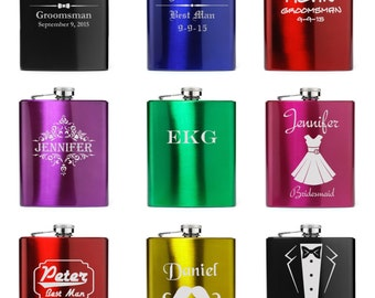 Engraved 7oz Stainless Steel Hip Flask black blue purple pink red green gold Personalized Custom Groomsman Best Man Wedding Gift