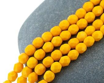 Sunflower Deep Yellow 6mm FirePolish Opaque Faceted Czech Glass Beads x 25