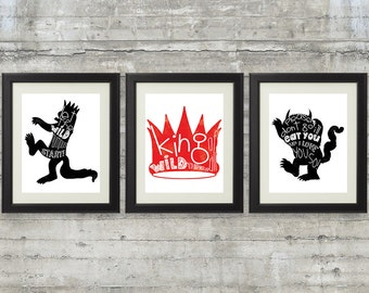 Nursery Art , Kids Wall Art,  Nursery Wall Art, Children's art - Where The Wild Things Are Print - Set of 3  11x14 Prints in black and red