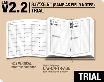 Trial [FIELD NOTES v2.2 w DS1 do1p] November to December 2017 - Midori Travelers Notebook Refills Printable Planner.
