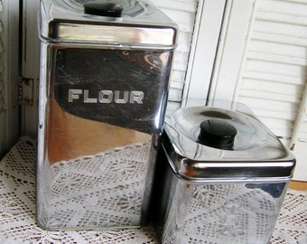Vintage Set of Two Lincoln Beautyware Chrome Canisters Flour Tea Kitchen Canister Set Made in USA Mid Century Kitchen Canisters