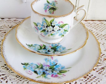 Vintage Kelvin Fine China Dessert or Luncheon Set Teacup Saucer and Plate in A Lovely Blue and Pink Floral Pattern with Gold Trim Tea Party