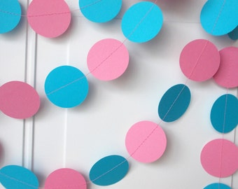 Party Paper Garland, Pink & Aqua Blue Party Decoration, All Occasion, Birthday Party, Gender Reveal, Baby Shower, 12' Circles