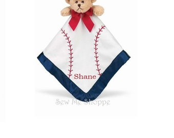 Personalized Embroidered Baseball Bear Blankie / Lovie / Security Blanket. Perfect for the future All Star.