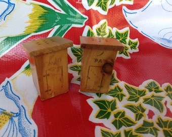 """Vintage wooden outhouse """"Ma"""" and """"Pa""""  salt and pepper shakers- Souvenir of Bass Lake"""