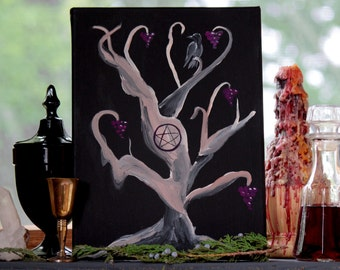 "Cakes and Ale, Original Acrylic Painting on 9x12"" Gallery Wrapped Canvas, Healing Magic, Wine Tree, Samhain, Grapes, Wicca"