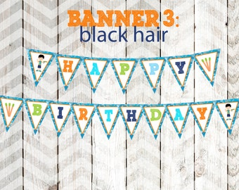 Boy's Dart Gun Party Banner Boy's Dart Tag Party Banner Happy Birthday Banner Black Hair