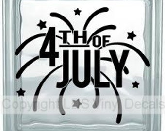 4TH OF JULY - Patriotic and Military Vinyl Lettering for Glass and Wood Blocks - USA Craft Decals