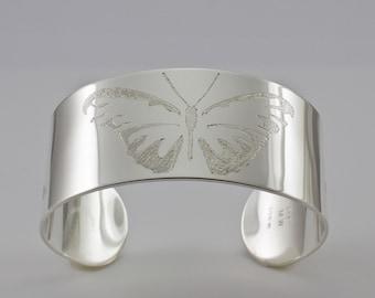 Butterfly Cuff Bracelet - Sterling Silver Cuff Bracelet - Modern Bracelet - Cuff Bracelet - Wide Band Cuff- Woman's Cuff