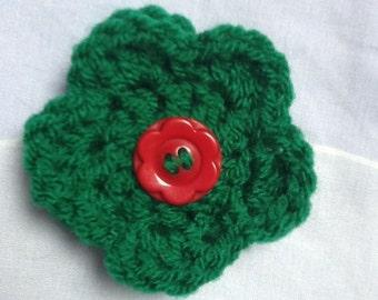 Flower Jewellery, Green Pin, Flower Pin, Green Flower Jewellery, Green Wool Brooch, Green Yarn Brooch, Flower Brooch, Yarn Pin, Wool Pin