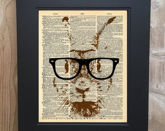 Hipster Rabbit art print on Upcycled vintage Dictionary page #0079