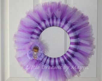 Doc McStuffins inspired tutu wreath, Doc Mcstuffins inspired decoration party