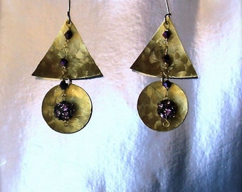 Patterned Brass Earrings, embellished with Purple Disco Bead and Swarovski crystals