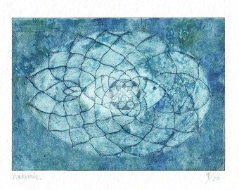 "PRINTMAKING Original Drypoint Etching  ""BLUE LOTUS"""