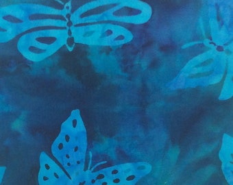 Butterfly Batik Fabric - Artisan Indonesian from Majestic Batiks - D-055 - Blue, 1/2 yard