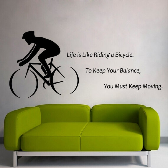 items similar to boy cycling wall decals quote life is. Black Bedroom Furniture Sets. Home Design Ideas