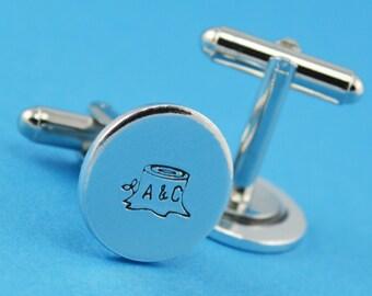 Custom Initial Cuff Links - Hand Stamped Groom Gift