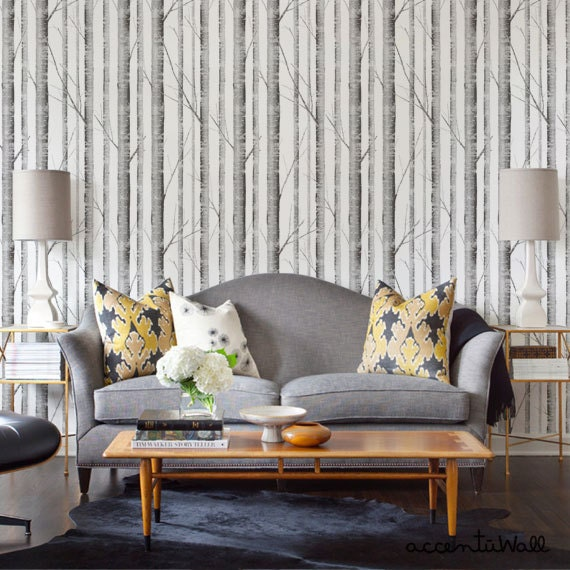 peel and stick wallpaper birch tree peel and stick fabric wallpaper