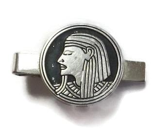 Vintage SWANK Egyptian Pharaoh TIE CLIP King Tut 50s Mid Century Tie Bar Clasp Silver Black Tutankhamun Steampunk Egypt Masonic Jewelry Gift