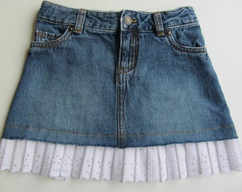 Girls 6X Pleated Lace Blue Jean Skirt