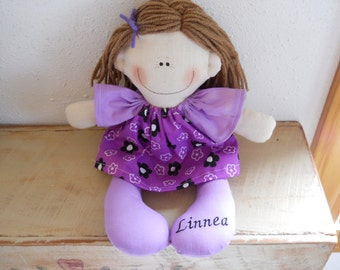 Monogrammed With Childs Name Custom Made Personalized Cloth Doll  Softie Handmade Cloth Toy Rag Doll