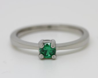 Emerald Solitaire engagement ring - in white gold or titanium - wedding ring - gemstone ring