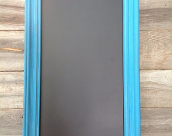 Beautifully distressed turquoise framed chalkboard sign / wedding / home decor
