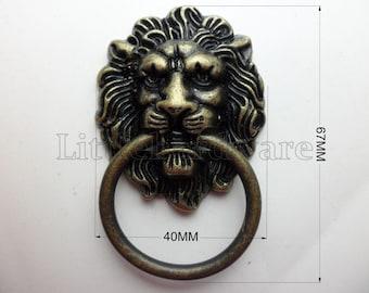2Pcs 40mmX67mm vintage Lion ring pulls,drawer pull handles with screws #DP0197