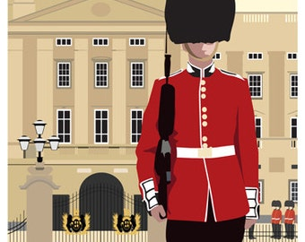LONDON. Art print Travel/Railway Poster of London Scots Guard outside Buckingham Palace. A4, A3, A2 in Retro, Art Deco style design
