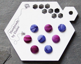 Fabric Covered Buttons - 8 x 11mm buttons, handmade button, purple buttons, violet buttons, aubergine buttons, abstract petal buttons,1426