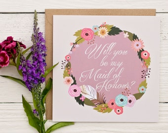 Will you be my Maid of Honour? Rustic summer florals greeting/invitation card