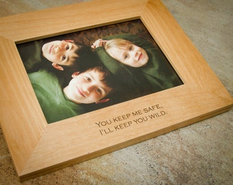 5x7 Personalized Picture Frame. Custom Frame. Engraved Wood Frame. Engagement Gift. Wedding Gift. Anniversary Gift.